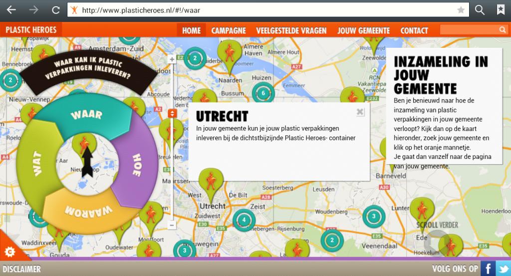 Kaart Plastic Heroes gemeente Utrecht